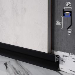 Плинтус алюминиевый теневого шва с LED-подсветкой Sintezal P-120b, 20х12х2500мм. Чёрный