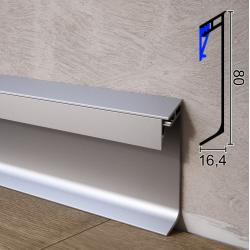 Дизайнерский алюминиевый плинтус с LED-подсветкой Progress GILED, 80x16,4x2000mm. Италия