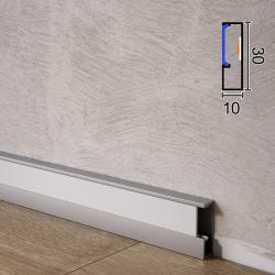 Алюминиевый плинтус c LED-подсветкой Profilpas ProLight LLA/30, 30х10х2700мм. Анодированный
