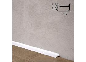 Ультратонкий алюмінієвий плінтус для підлоги Sintezal P-05W, 16х5х2500мм. Білий