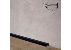 Ультратонкий алюмінієвий плінтус для підлоги Sintezal P-05B, 16х5х2500мм. Чорний