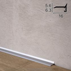 Ультратонкий алюминиевый плинтус для пола Sintezal P-05, 16х5х2500мм. Анодированный