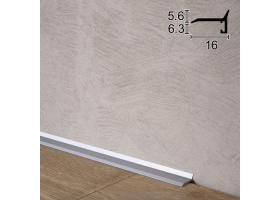 Ультратонкий алюмінієвий плінтус для підлоги Sintezal P-05, 16х5х2500мм. Анодований