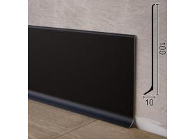 Плоский алюмінієвий плінтус для підлоги Sintezal P-100B, 100х10х2500мм. Чорний