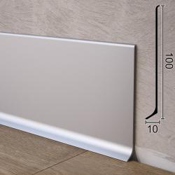 Плоский алюминиевый плинтус для пола Sintezal P-100, 100х10х2500 мм.