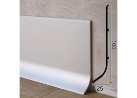 Високий алюмінієвий плінтус для підлоги Sintezal P-101, 100х25х3000мм. Анодований