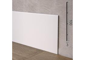 Високий алюмінієвий плінтус підлоговий Sintezal P-102W, 100x3x2500mm. Білий