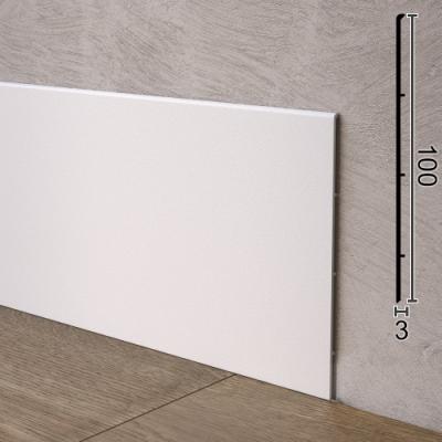 Плоский напольный плинтус алюминиевый Sintezal P-102W, 100х3х2500мм. Белый