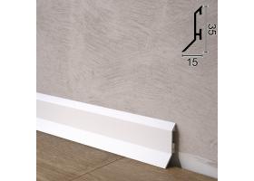 Тонкий алюмінієвий плінтус для підлоги Sintezal P-35W, 35х15х2500мм. Білий
