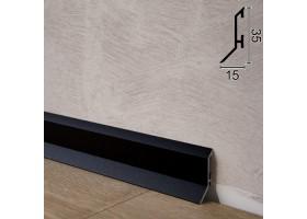 Компактний алюмінієвий плінтус для підлоги Sintezal P-35B, 35х15х2500мм. Чорний