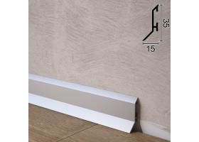 Тонкий алюмінієвий плінтус для підлоги Sintezal P-35, 35х15х2500мм. Анодований