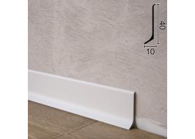 Плоский алюмінієвий плінтус для підлоги Sintezal P-40W, 40х10х2700мм. Білий