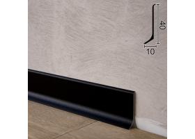 Плоский алюмінієвий плінтус для підлоги Sintezal P-40B, 40х10х2700мм. Чорний