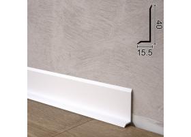Ультраплоский алюмінієвий плінтус для підлоги Sintezal P-41W, 40х15,5х2500мм. Білий
