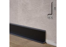 Надплоский алюмінієвий плінтус для підлоги Sintezal P-41B, 40х15,5х2500мм. Чорний