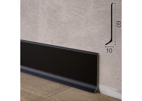 Фарбований алюмінієвий плінтус для підлоги Sintezal P-60B, 60х10х2500 мм. Чорний