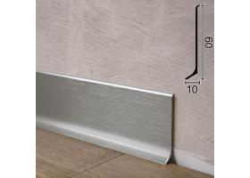 Дизайнерський алюмінієвий плінтус для підлоги Sintezal P-60SB, 60х10х2000мм. Срібло Сатин