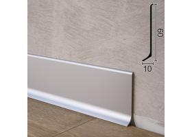 Дизайнерський алюмінієвий плінтус для підлоги Sintezal P-60, 60х10х2500мм.