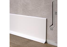 Плоский алюмінієвий плінтус для підлоги Sintezal P-80W, 80х10х2500мм. Білий