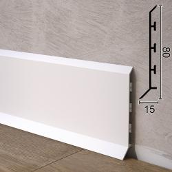 Дизайнерский алюминиевый плинтус для пола Sintezal P-85W, 80х15х2500мм. Белый