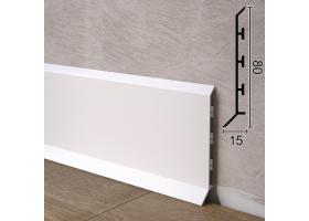 Авторський алюмінієвий плінтус для підлоги Sintezal P-85W, 80х15х2500мм. Білий