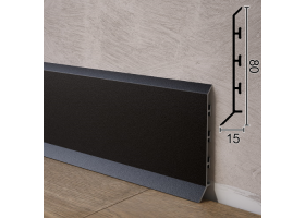 Плінтус алюмінієвий зі збільшеним перекриттям підлоги Sintezal P-85B, 80х15х2500мм. Чорний