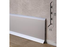 Накладний алюмінієвий плінтус зі збільшеним перекриттям підлоги Sintezal P-85, 80х15х2500мм.