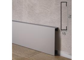 Прямокутний алюмінієвий плінтус для підлоги Sintezal P-870, 70х15х2500мм.