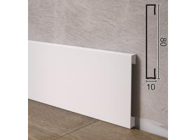 Прямокутний алюмінієвий плінтус для підлоги Sintezal P-88W, 80х10х2500 мм. Білий