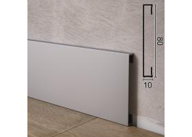 Прямокутний алюмінієвий плінтус для підлоги Sintezal P-88, 80х10х2500мм.