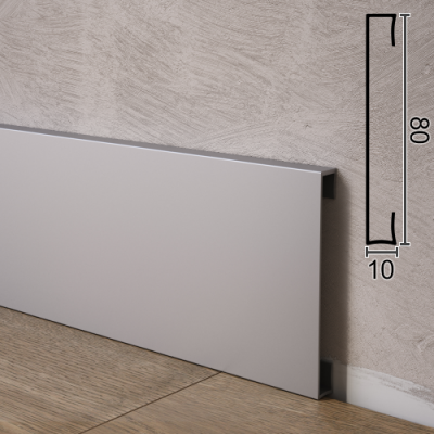 Плинтус алюминиевый прямоугольной формы Sintezal P-88, H=80mm.