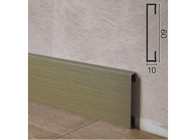 Прямокутний алюмінієвий плінтус для підлоги Profilpas Metal Line 89/6TMEI, 60х10х2000мм. Титан Сатин