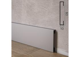 Прямокутний алюмінієвий плінтус для підлоги Sintezal P-89, 60х10х2500мм.