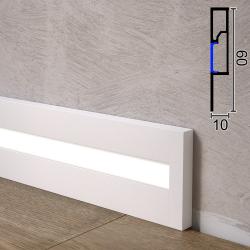 Алюминиевый плинтус с LED-подсветкой Sintezal P-89LW, 60х10х2500мм. Белый
