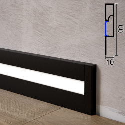 Алюминиевый плинтус с LED-подсветкой Sintezal P-89LEDB, 60х10х2500мм. Чёрный