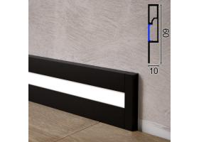Дизайнерський алюмінієвий плінтус з LED-підсвіткою Sintezal P-89LB, 60х10х2500мм. Чорний