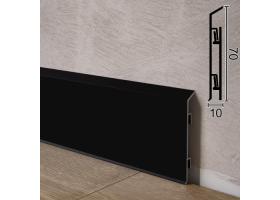 Фарбований алюмінієвий плінтус для підлоги Sintezal P-95B, 70х10х2500 мм. Чорний