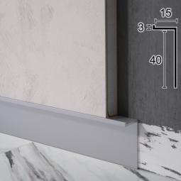"""Скрытый алюминиевый плинтус """"парящие стены"""" Sintezal P-104, 40х15х2500мм. Анодированный"""