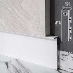 Алюминиевый плинтус скрытого монтажа Sintezal Р-105W, 60х15х2500мм. Белый