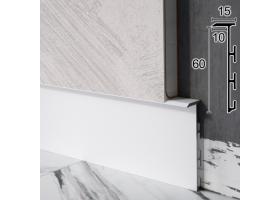 Алюмінієвий плінтус прихованого монтажу Sintezal Р-105W, 60х15х2500мм. Білий