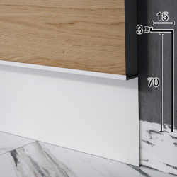 "Встроенный алюминиевый плинтус ""парящие стены"" Sintezal Р-107W, 70х15х2500мм. Белый"