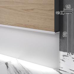 Скрытый алюминиевый плинтус с LED-подсветкой Sintezal P-108, 70х15х3000мм. Анодированный