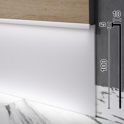 Алюминиевый плинтус скрытого монтажа под стеновые панели Sintezal Р-110, H=100mm.