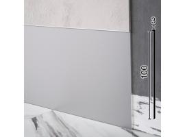Плоский алюминиевый плинтус скрытого монтажа под штукатурку Sintezal P-112, 100х3х2500мм. Анодированный
