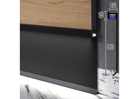 Дизайнерський алюмінієвий плінтус з прихованою LED-підсвіткою Sintezal P-115B, 80х12х2500мм. Чорний