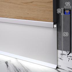 Скрытый плинтус алюминиевый плинтус с LED-подсветкой Sintezal P-115, 80х12х2500мм.