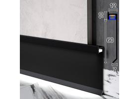 Дизайнерський алюмінієвий плінтус з прихованою LED-підсвіткою Sintezal P-116B, 60х12х2500мм. Чорний