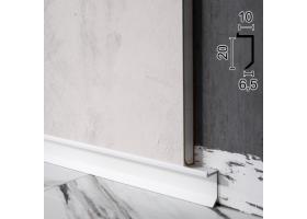 Дизайнерський алюмінієвий плінтус для тіньового шву підлоги Sintezal P-117W, 20х10х2500мм. Білий