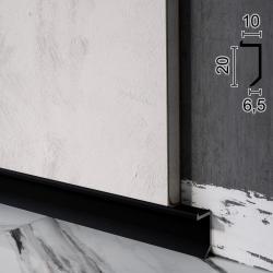 Скрытый плинтус алюминиевый теневого шва Sintezal P-117B, 20х10х2500мм. Чёрный