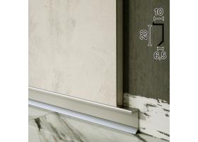 Скрытый плинтус алюминиевый теневого шва Sintezal P-117, 20х10х2500мм.
